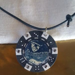 Frankenstein Pokerchip Cord Necklace